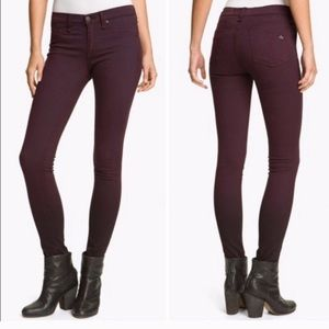 rag & bone Skinny Jeans in Distrsd Wine Size 28